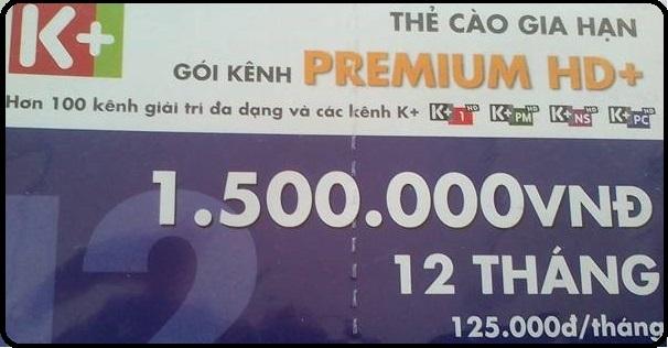 Thẻ Cào K+ Gói Premium (SD và HD 12 Tháng)